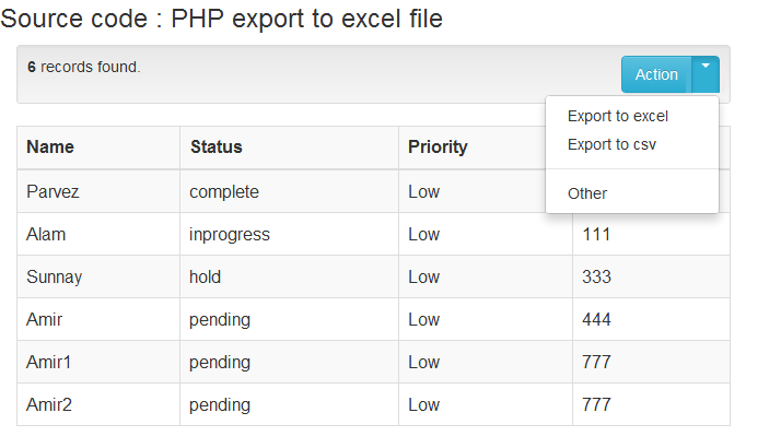 Export Html Table To Csv Archives Phpflow Com