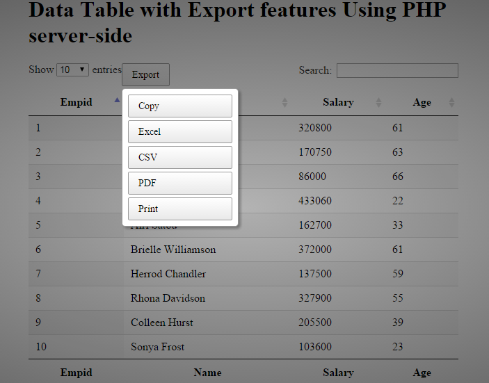 How to export the jquery datatable data to pdf excel csv for Html datatable