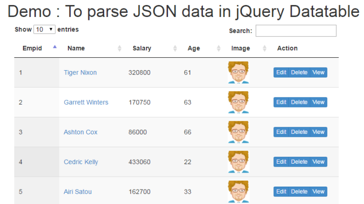 How to parse JSON data in jQuery Datatable - Phpflow com