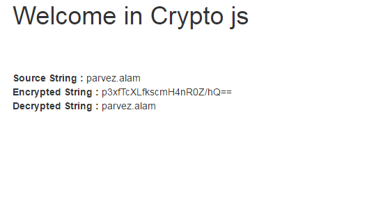 Encryption and Decryption using Crypto-js in Angularjs and
